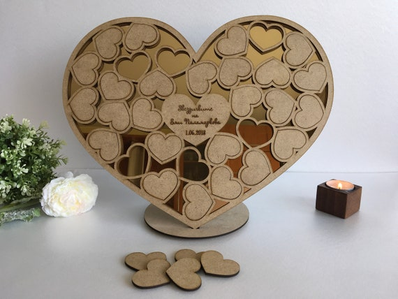 Personalized Wedding Guest Book Sign Our Guestbook Hearts Wood Heart Drop Box Alternative End School Year Teacher Gift Kids Names Free Stand