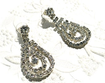 Vintage Rhinestone Earrings Costume Jewelry Prom Jewelry VA-188