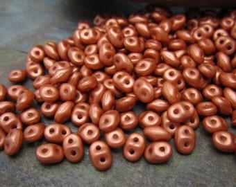 Superduo Frosted Pumpkin Czech Glass Seed Beads