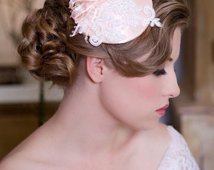 Lace wedding hat, blush pink Hair Piece, Bridesmaid Hat, Wedding Mini Hat, Garden Wedding hat, Pink Lace Bridal headpiece, Ready to ship