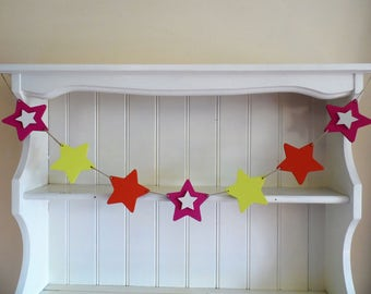 Wooden Star Garland-Pink-Orange-Yellow-Star Banner-Hand Painted-Wooden Bunting-Bedroom Decor-Nursery Decor-Baby Shower Gift-Gift for Girls