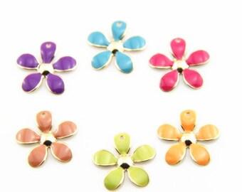 12 pcs of 4  colors of metal flower charm-20mm-MP1204-mixture colors