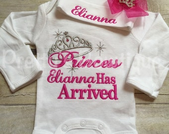 Baby girl coming home outfit -- The Princess has arrived bodysuit and hat set -- Personalized princess has arrived -- baby shower gift
