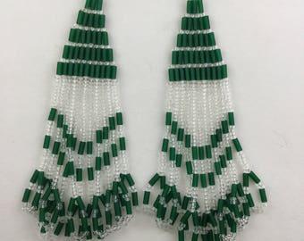Dark Green and Clear Native American Inspired Beaded Earrings