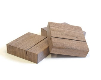 Wood Photo Stands Set of 3 | Walnut Picture Holders | Wooden Photo Stand Set | Wood Photo Display | Photograph Display | Walnut Photo Stands