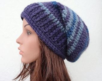 Striped Slouchy Hat Wool Hat Crochet Purple Blue Hat Womens Slouch Hat Handmade in Ireland