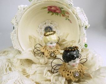 """Art Doll Assemblage """"Wedding of the May Fairies""""  Assemblage Art  Fairies in a Teacup"""