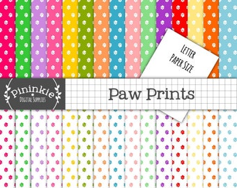 Letter Size Paw Print Digital Paper Pack, Animal Print Scrapbooking Paper, Instant Download,  Commercial Use, 8.5 x 11, Dog Pri