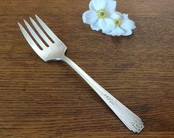 Serving Fork ~ Medality aka Friendship ~ 1932~ Tudor Plate Oneida Community Silver Plate ~ Wedding or Shower Gift ~ Art Deco
