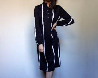 Striped Dress Vintage Navy Blue Dress 70s Long Sleeve Dress Shirtdress Simple Dress - Small to Medium S M