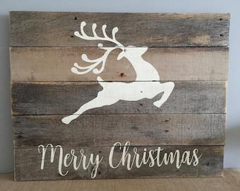 Rustic Reclaimed Wood Sign - Reindeer w/ Merry Christmas -  20x17