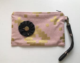 Five Pocket Womens Wallet Clutch, keychain wallet, clutch purse, clutch wallet, cotton and steel, canvas linen