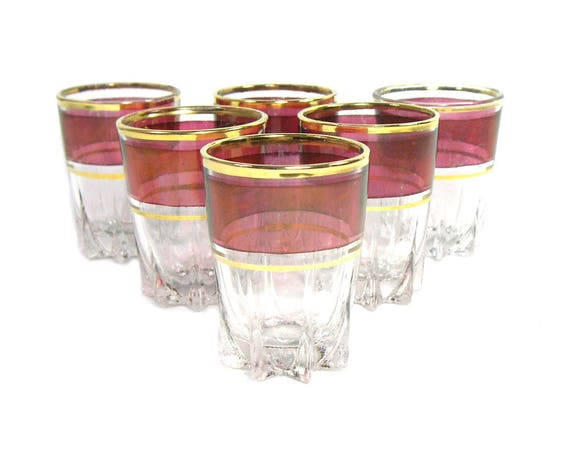 Vintage Red and Gold French Liqueur Glasses