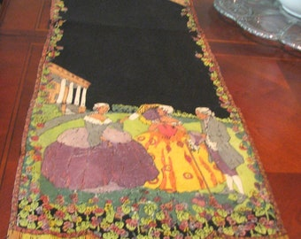 1930s Table Runner Colonial Style Handpainted 1930s 1940s Textile