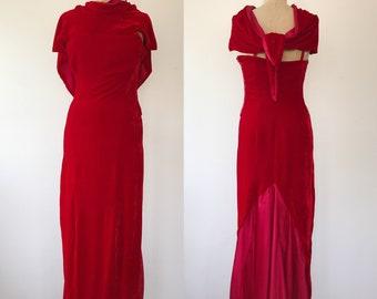 vintage velvet dress / velvet evening dress / Red Velvet Maxi dress