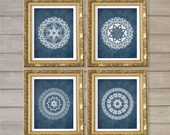 Geometric Circle Mandala Medallion Pattern Printable Wall Art Set of 4 -8x10- Navy Blue Instant Download Digital Print Livingroom Home Decor