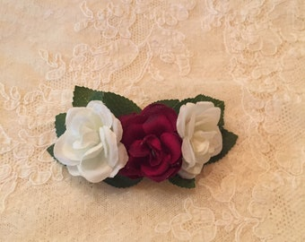 "4"" Burgandy and White Miniature Roses Barrette"