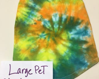 Large pet tye dye yellow greens and blues up to 18lbs