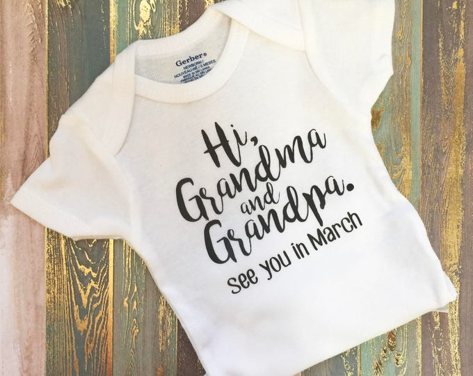 Featured listing image: Hi Grandma and Grandpa   Pregnancy   Announcement   Gerber Baby ONESIES®   Baby    Pregnancy Reveal   to Grandparents   Abuela