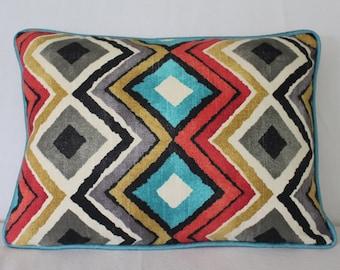 Bright multi-colored lumbar pillow cover
