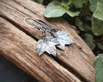 Acer spp. - Tiny Maple Leaf - Fine Silver Real Botanical Leaf Earrings  by Quintessential Arts
