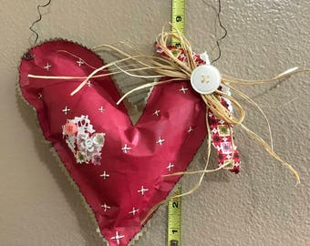 Cranberry pink hanging heart