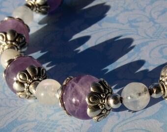 CUSTOM SIZE Moonstone and Amethyst Stretch Bracelet