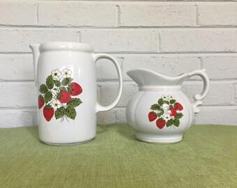 Set of 2 Vintage McCoy Strawberry Pitchers