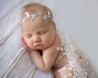 Silver Headband, Baby Halo Headband, Boho Headband, Baby Girl Headband, Newborn Headbands, Baby Headbands, Leaf Headband, Infant Headband