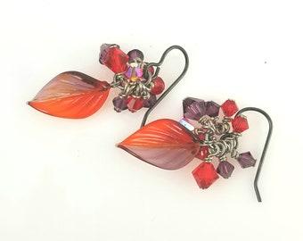 SALE! Orange Sunset Leaf Cluster Earring