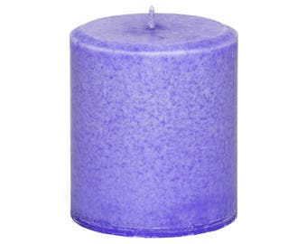Handmade Lavender Highly Scented Candle Pillar, Gift for Mom