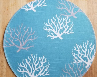 Round Cloth placemat, Isadella seaside coral, coastal blue and white, fabric place-mat colorful cotton table linens