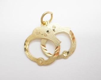 Handcuff Charm, Gold Charm, Handcuffs, Handcuff Charms, Genuine 10K Yellow Gold Handcuffs Handcuff Charm Pendant #4283