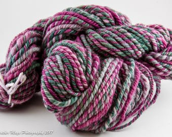 OOAK Rustic Christmas hand-spun yarn, worsted weight, 3-ply, burgundy, evergreen, pink, lavender