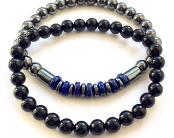 Men's Stacking Bracelet Set Onyx, Hematite And Lapis Lazuli 6mm Stretch Fit UK Made