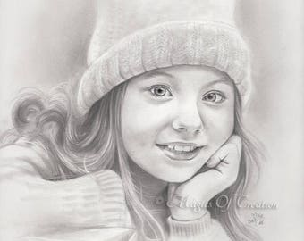 Custom portrait drawing from photo, custom graphite pencil drawing. Unique gift idea for mom, father, wife, husband, children and friends