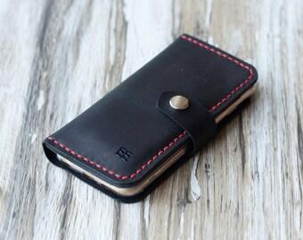 Personalized handmade iPhone x / 7 / 7 Plus / 8 / 8 plus / 6 / 6s Plus / 5 / SE wallet case leather wallet