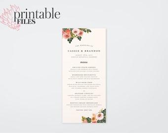 The Summer Watercolour Wildflower Wedding Menu Card (Printable)