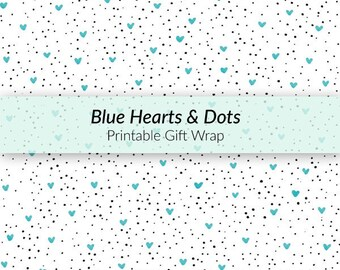 Printable Hearts and Dots Gift Wrap - baby boy gift wrap, Father's Day gift wrap, hearts gift wrap, dotted gift wrap, hand-drawn gift wrap