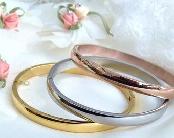 Plain stainless steel bracelet, gold, silver, rose gold bangles, stainless steel bangles, shiny hinged bracelets, gold, rose gold, silver