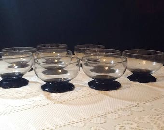 Vintage Set Of 9 Weston Lily Pad Cordial Glasses/Footed Glasses/Sherbert Dessert Glasses