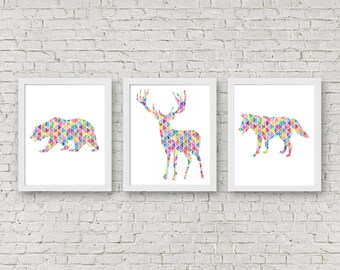 Set Of 3 Art Prints - Geometric Animal Wall Art - Deer /Bear /Wolf Silhouette Art Prints - Nursery Animal Art Set - Woodland Animals