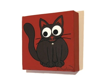 Cute Black Cat original art - small acrylic painting of a cartoon black cat on a dark red background. Nursery art on square canvas