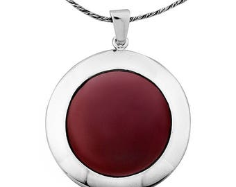 Silver Pendant,Carnelian pendant, Gemstone pendantl, Sterling silver, handmade