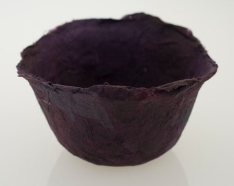 Dark Purple Bowl Handmade Paper Bowl Purple decorative paper papier mache bowl original art
