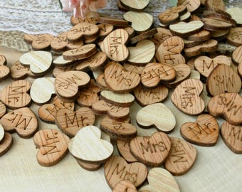 """100 0.5"""" Mr and Mrs Wood Hearts ~ Wood Confetti Engraved Love Hearts, Rustic Wedding Decor, Table Decorations, Tiny Hearts ~ Spring Wedding"""