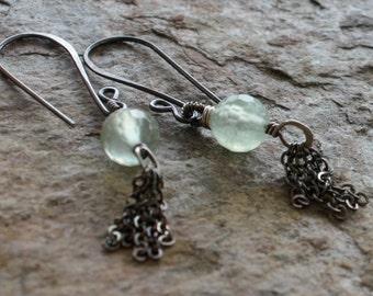 PREHNITE tassel earrings, PREHNITE earrings with sterling silver and coiled details