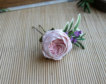 Pink english rose hair pin Pink wedding Floral hair pin peony rose Wedding Bridal hair pin Bridesmaid hair flower hair pin Green leaves