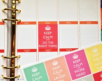 16 Keep Calm Stickers to get you Motivated! Perfect for your Erin Condren Life Planner, Plum Paper, Filofax or for scrapbooking!