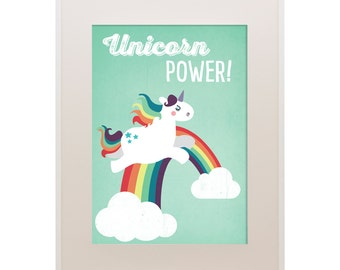"""Poster Unicorn Power, 11""""x16"""", Art Print, Animal Art Print, Illustration, Vector Art, Children's Room"""